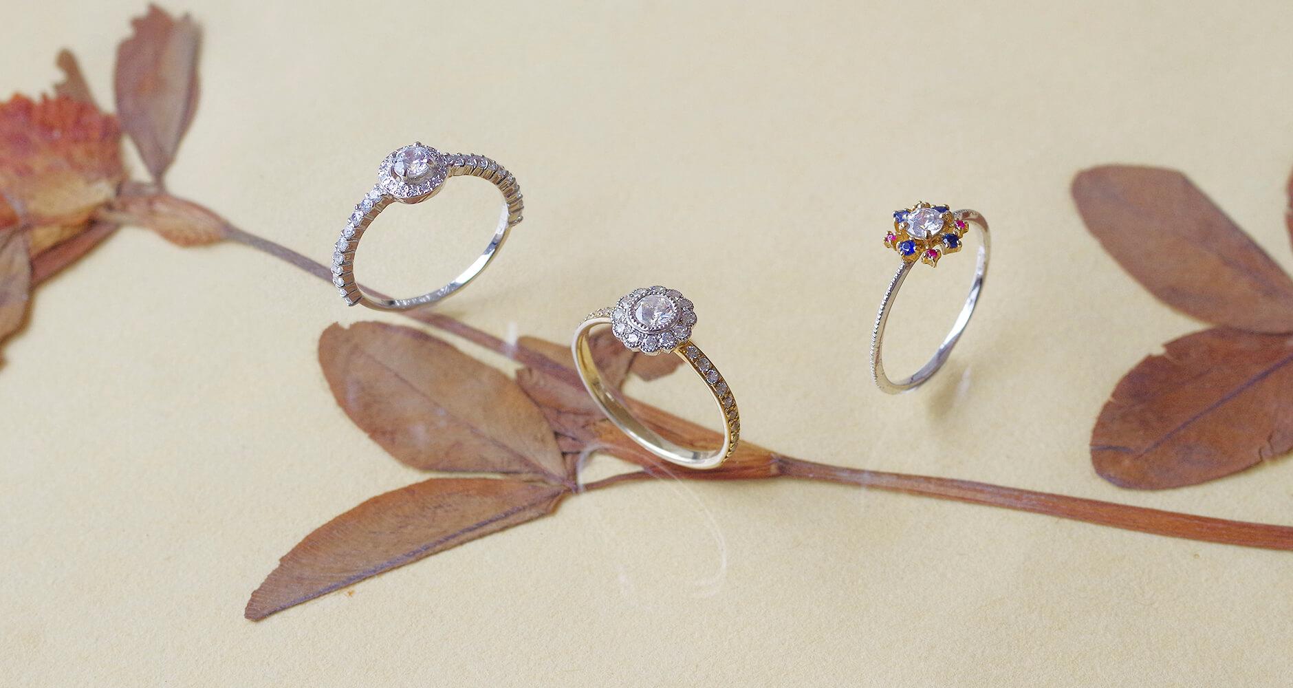 押し花と色々な婚約指輪