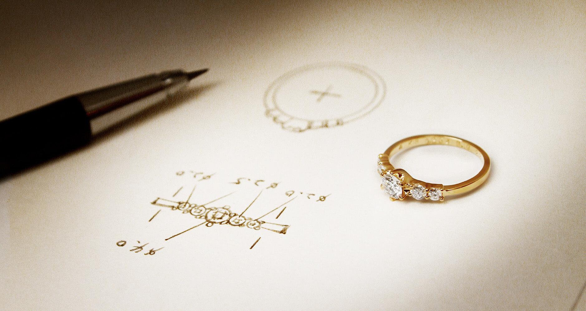 婚約指輪とそのデザイン画
