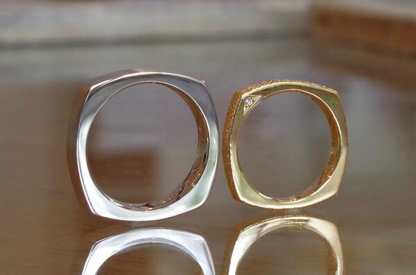 4角形の個性的な結婚指輪