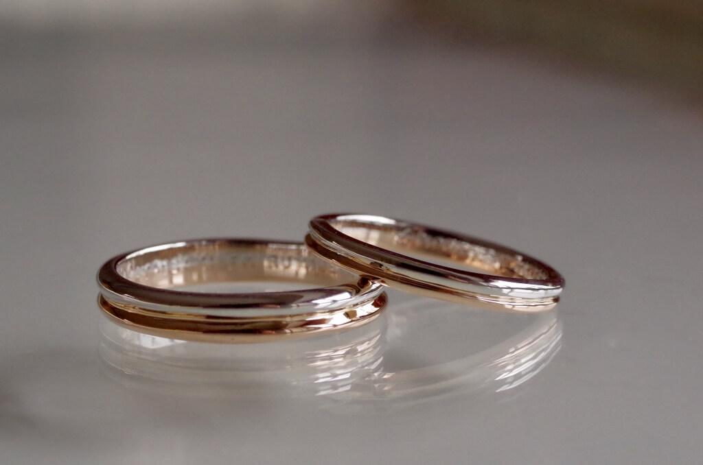 甲丸2連風のコンビの結婚指輪