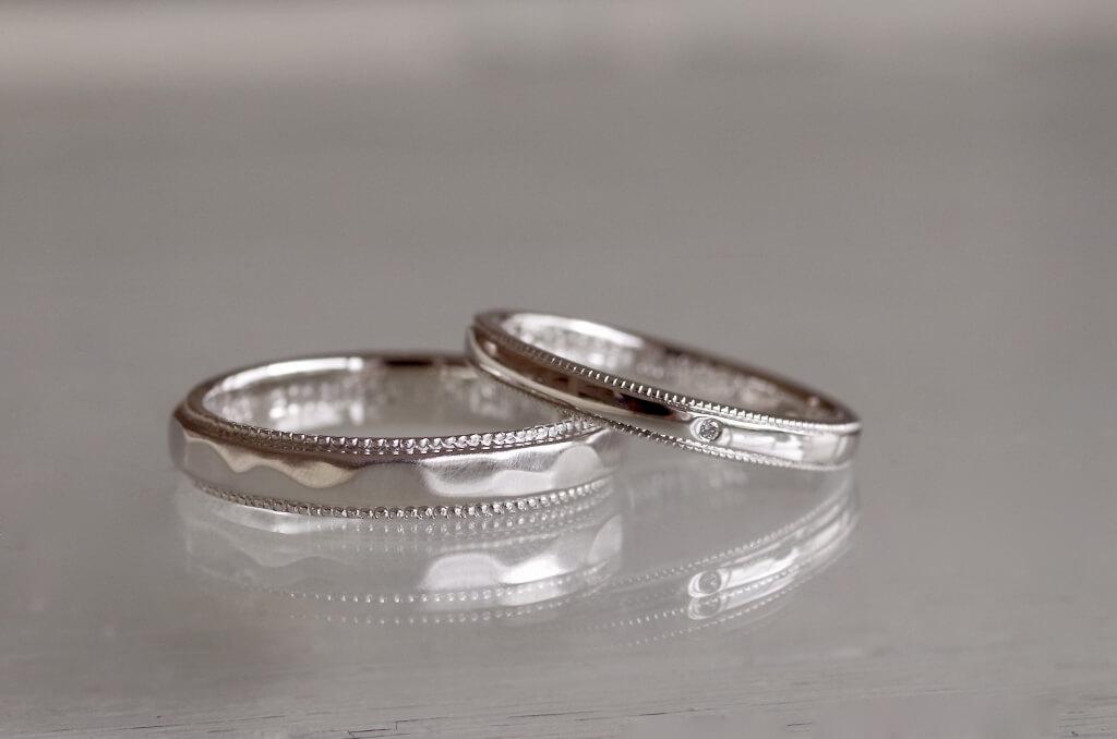 ミルグレインで揃えた結婚指輪