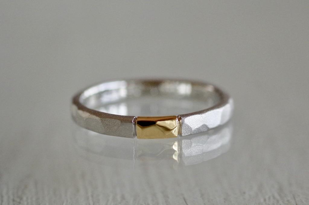 結婚指輪 オーダーメイド コンビネーション 槌目
