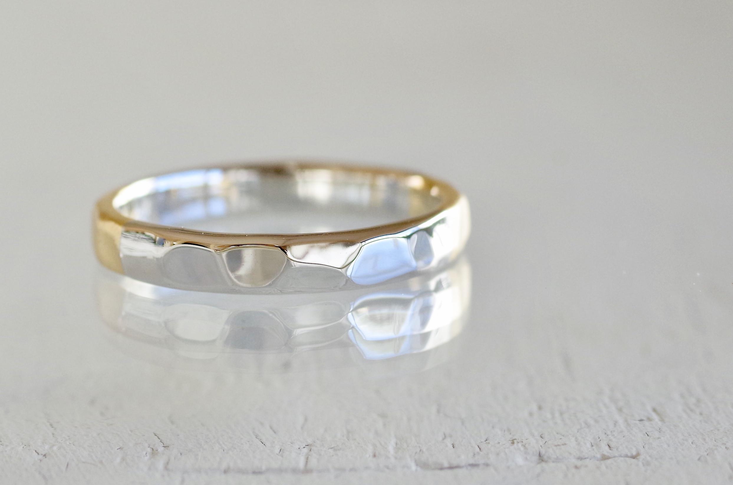 交互に違う金属を使ったフルオーダーの結婚指輪