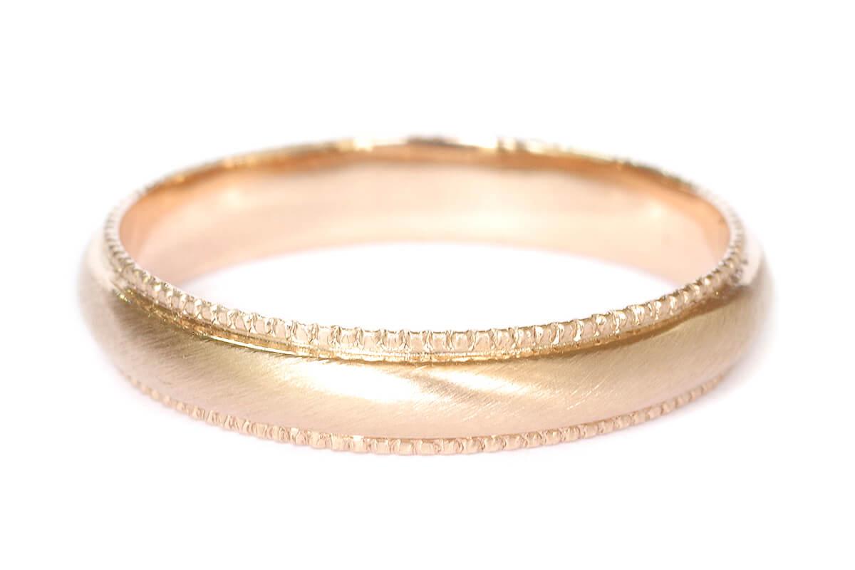 結婚指輪 オーダーメイド ミル打ち K18ピンクゴールド