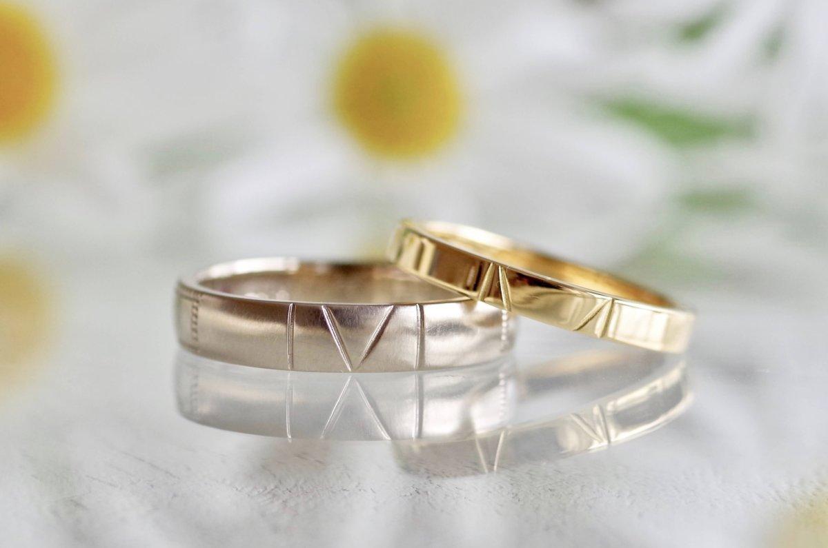 お二人のイニシャルが繋がる結婚指輪