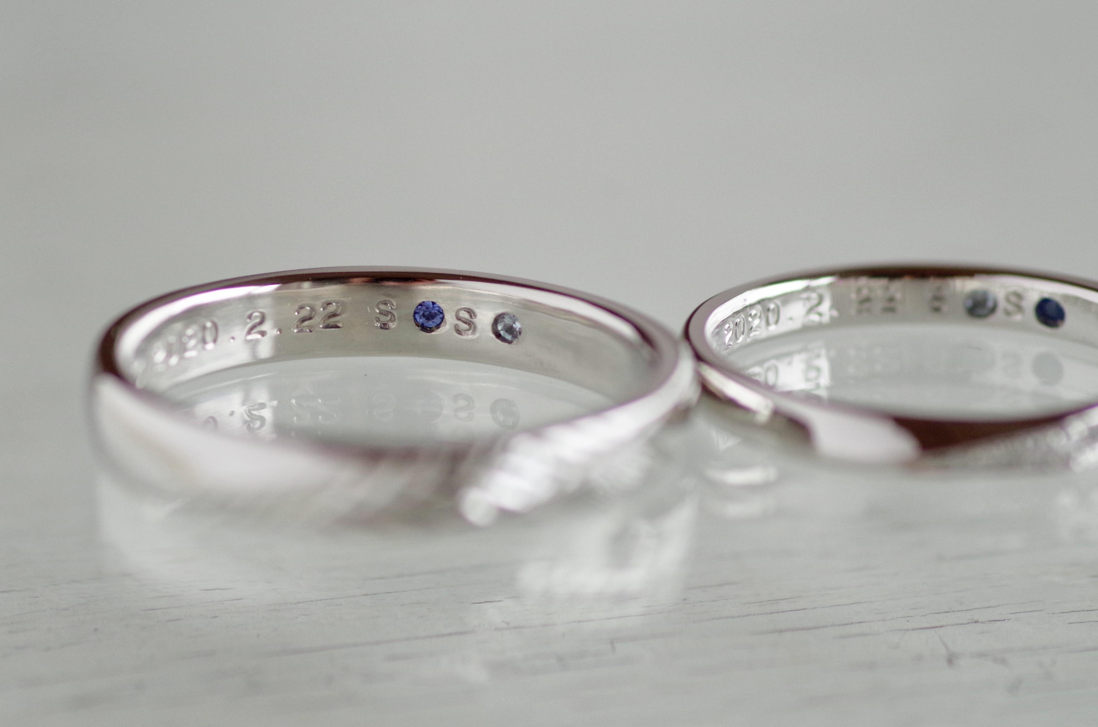 結婚指輪 オーダーメイド 内側 サファイア アクアマリン