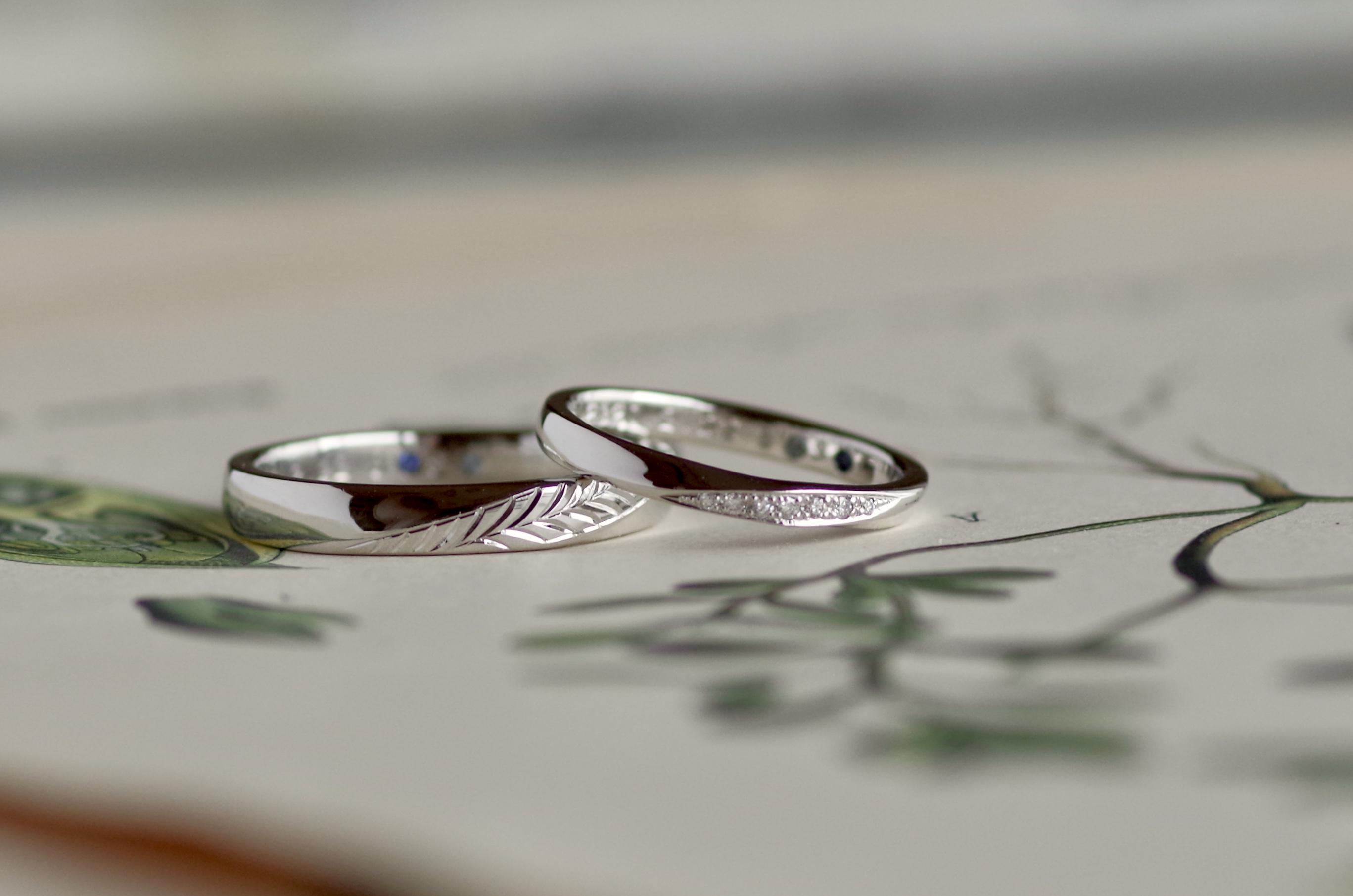 結婚指輪 オーダーメイド 手彫り フェザー