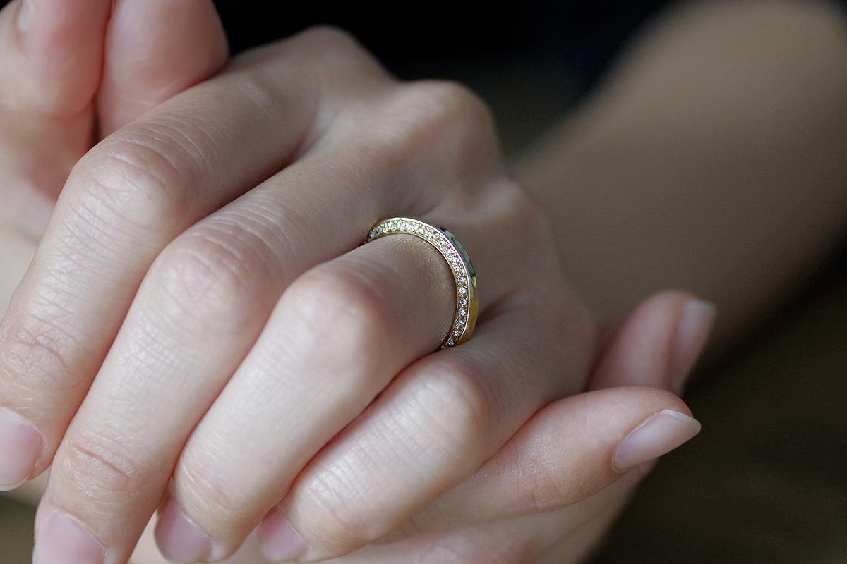 結婚指輪 オーダーメイド  ダイヤモンド付き結婚指輪