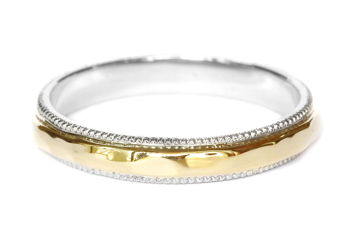 結婚指輪 オーダーメイド コンビネーション ミル打ち 槌目