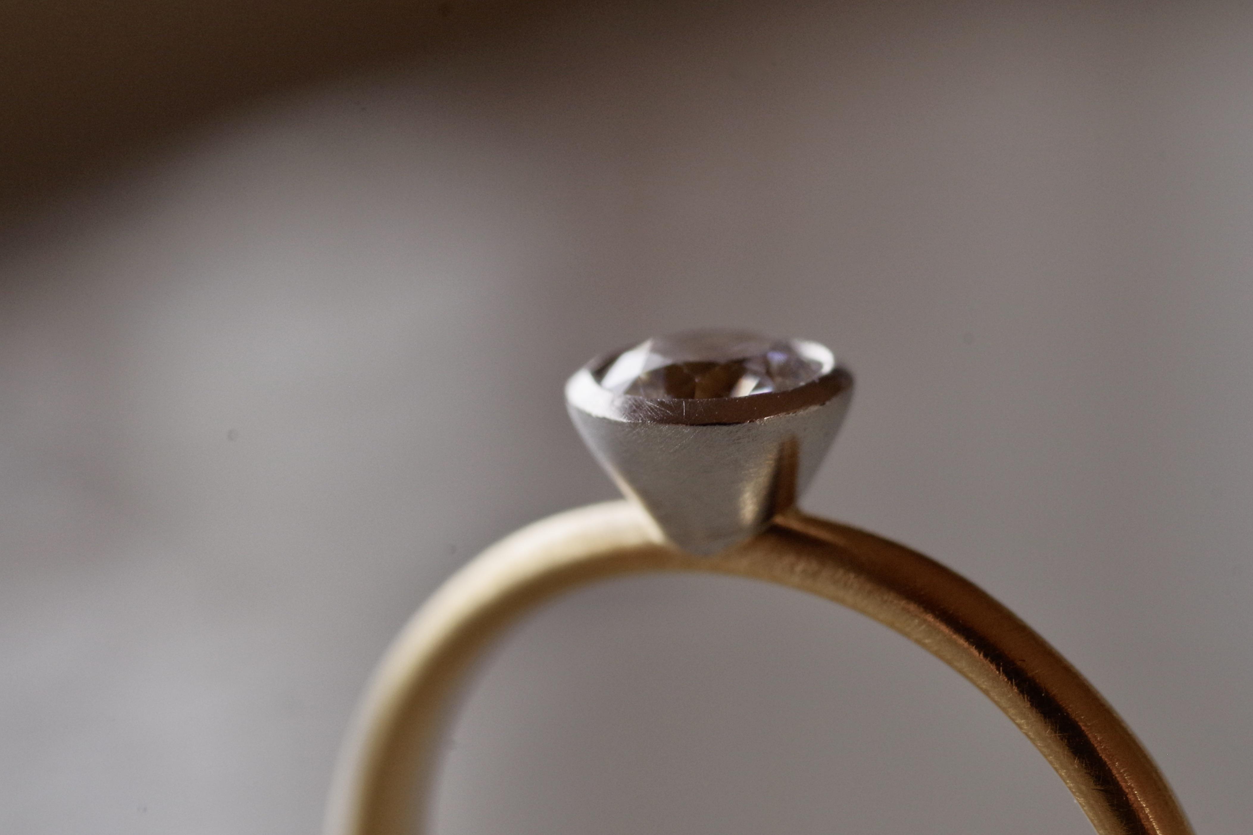 婚約指輪 オーダーメイド 覆輪留め コンビネーション