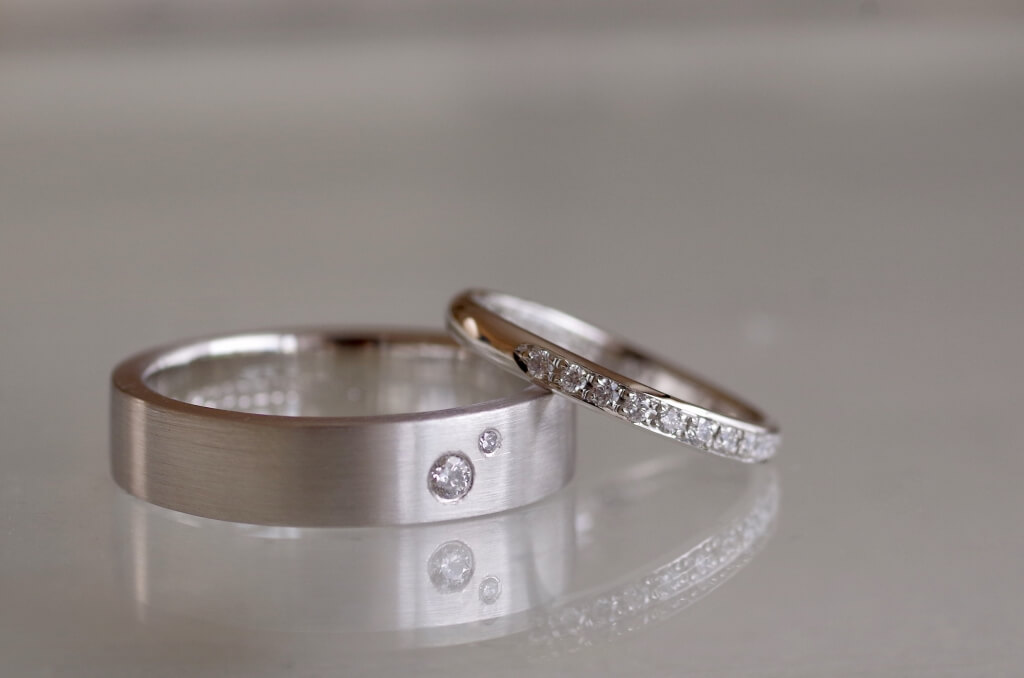 結婚指輪 オーダーメイド ダイヤモンド付き 男性用