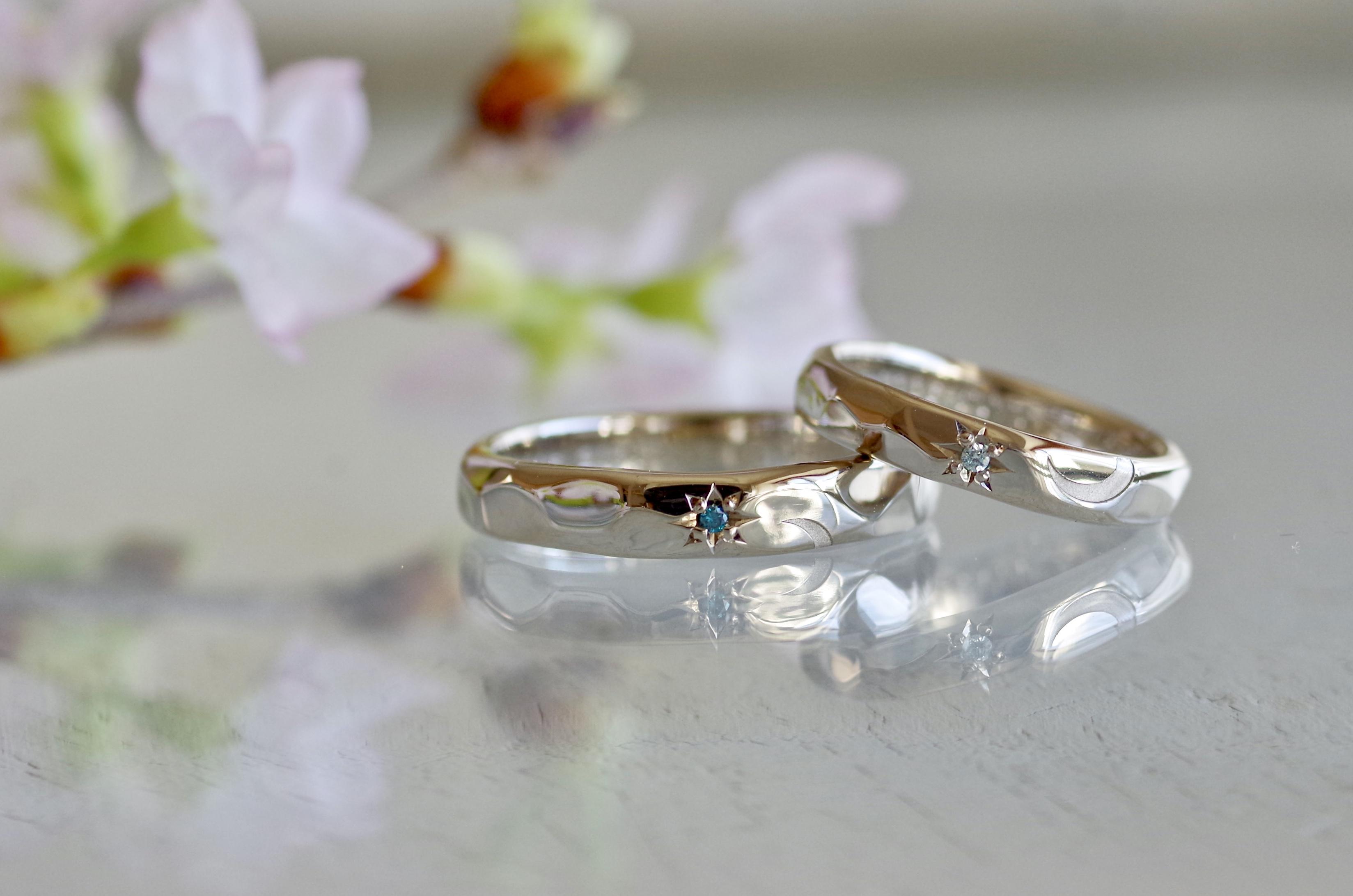結婚指輪 オーダーメイド ダイヤモンド追加 カラーダイヤ