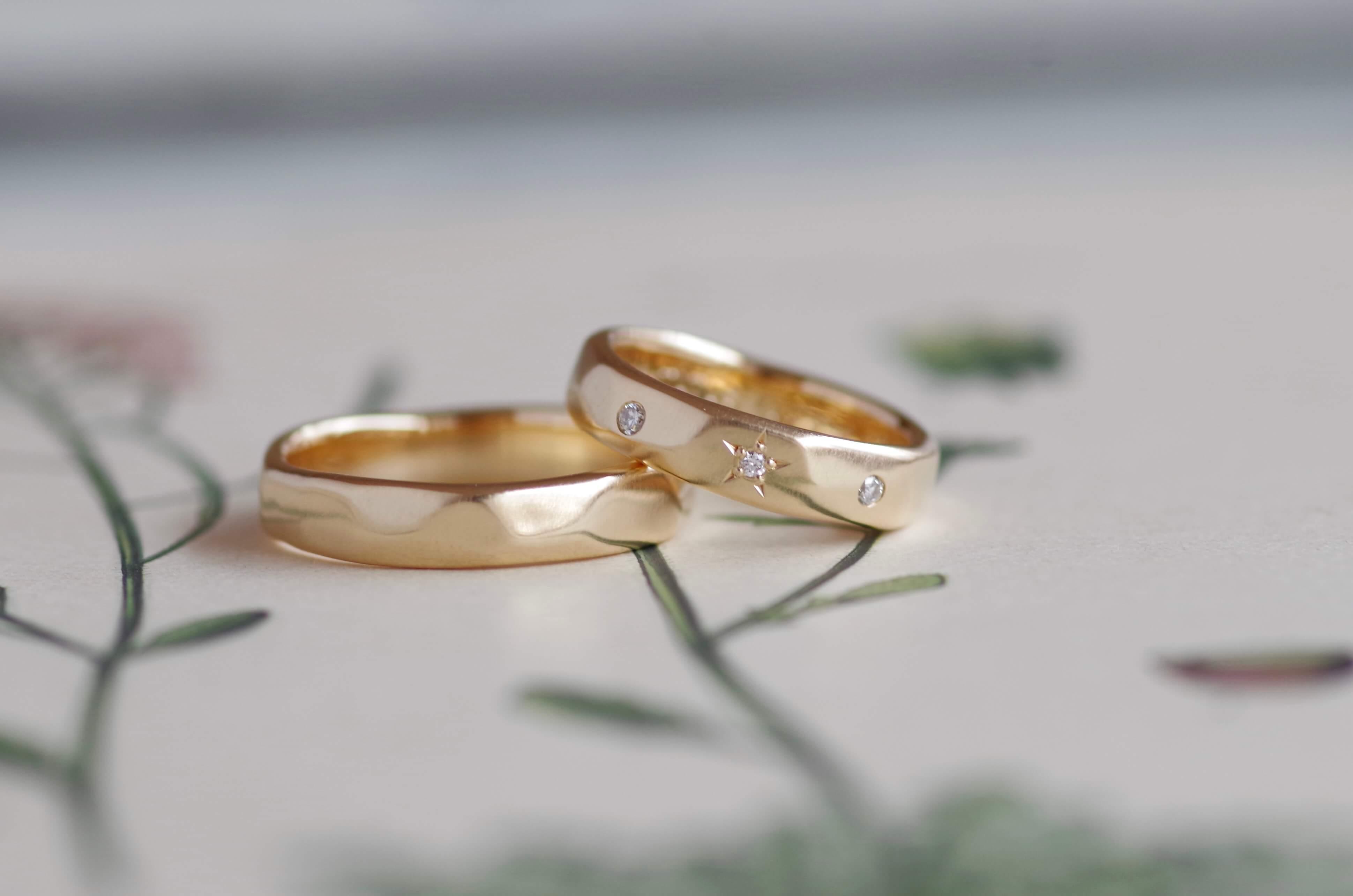 結婚指輪 オーダーメイド ダイヤモンド追加 槌目