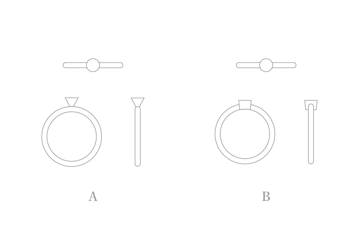 横から見た婚約指輪のかたちAB1