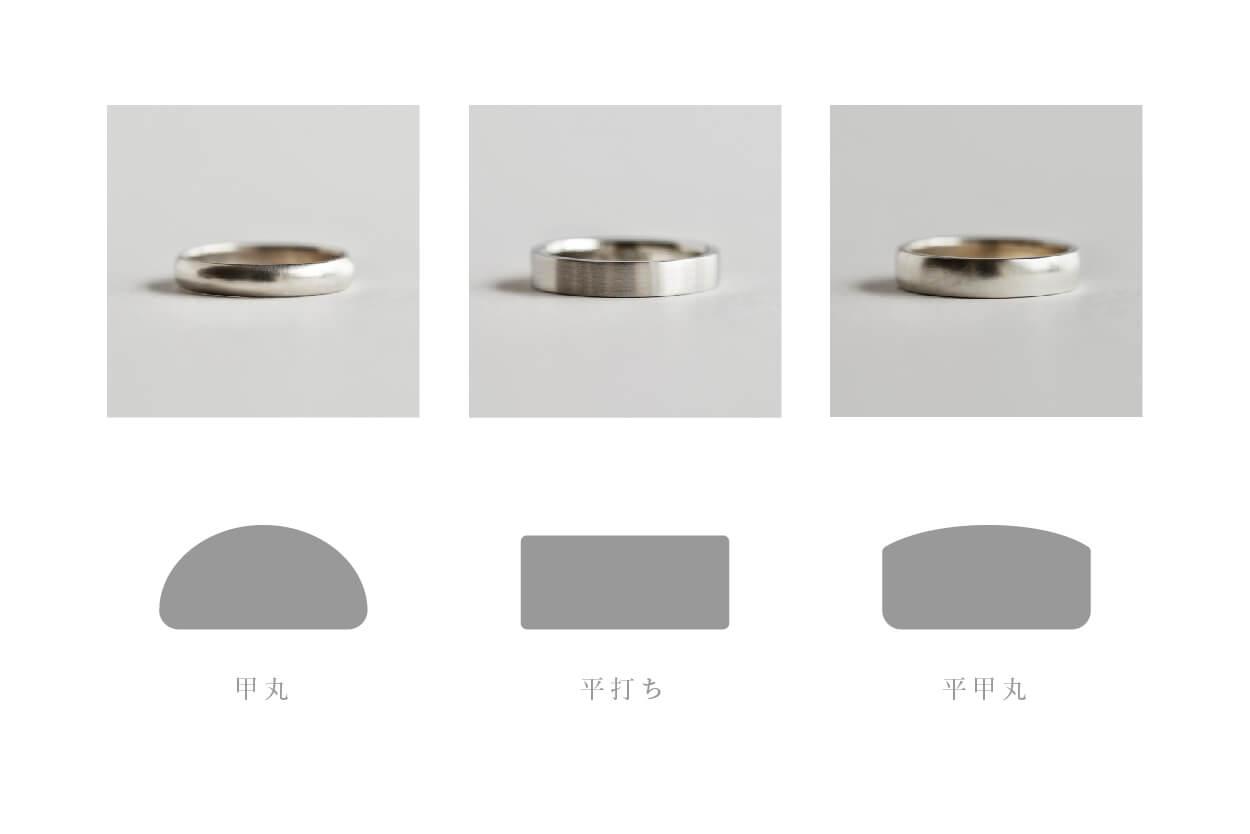 シンプル 結婚指輪 比較 甲丸 平打ち 平甲丸