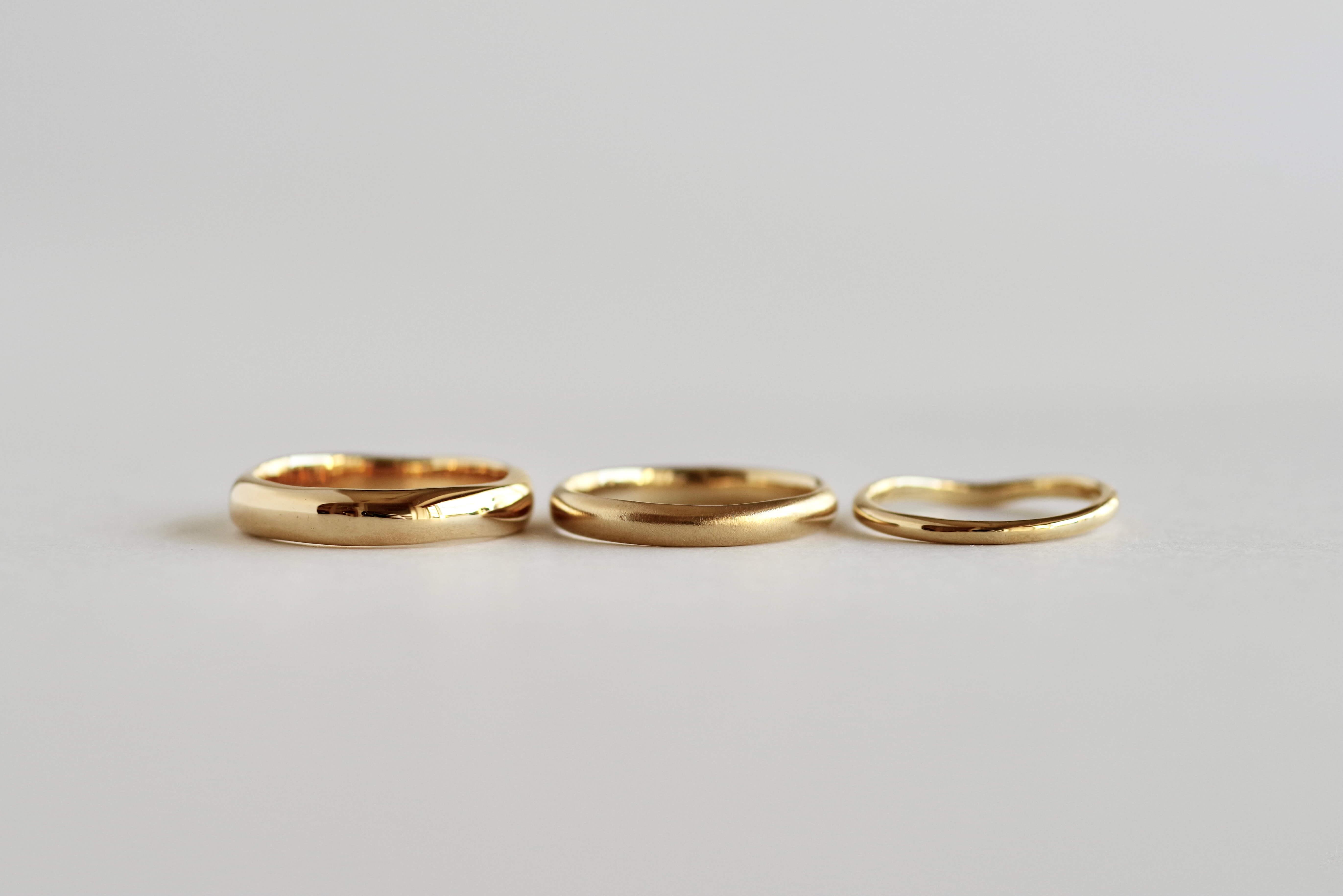 シンプル 結婚指輪 甲丸 太さ 細さ 比較