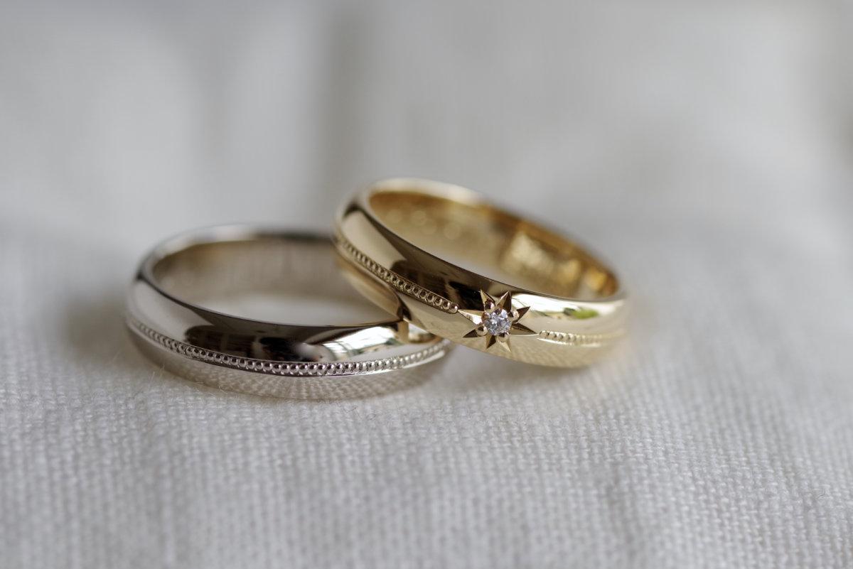 ミル打ちと後光留めの結婚指輪
