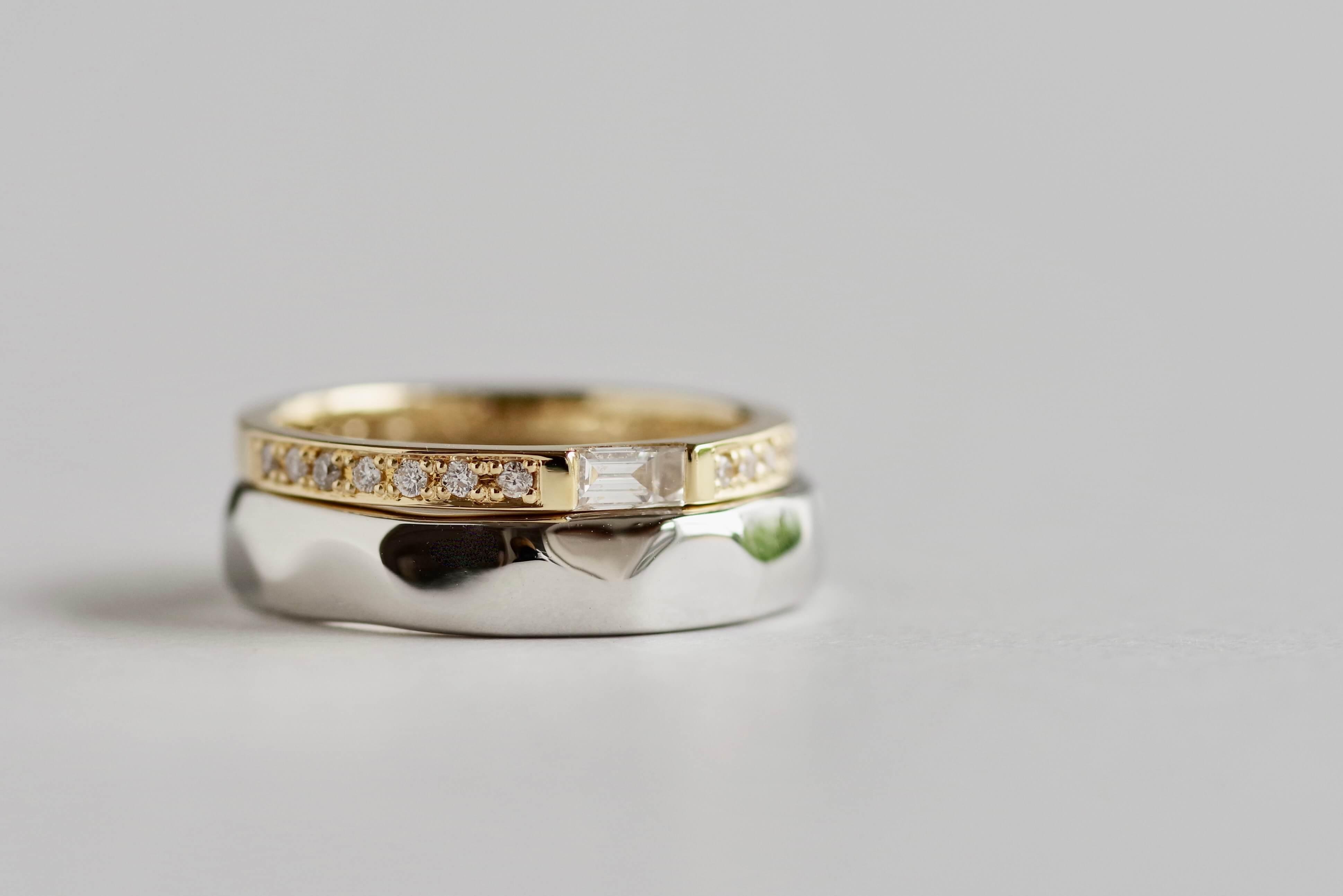 結婚指輪 オーダーメイド バゲットカットダイヤ