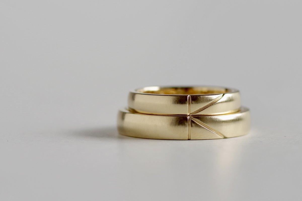 Kのイニシャルが繋がる結婚指輪