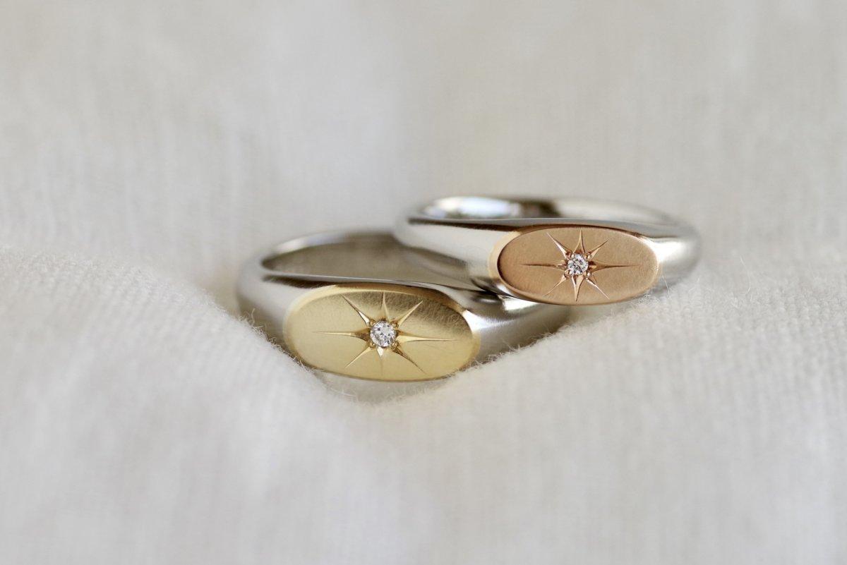 正面の色を変えた印台の結婚指輪