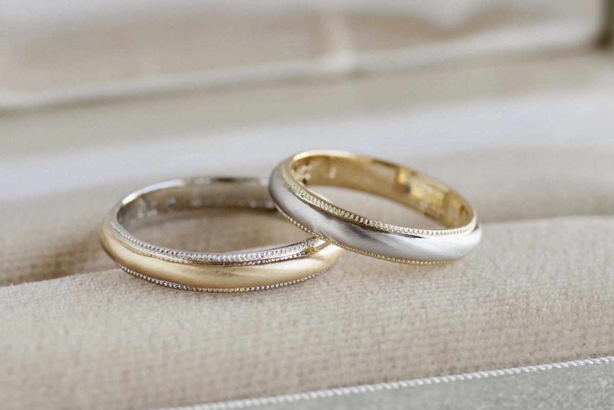 両縁のミルの色を変えた結婚指輪