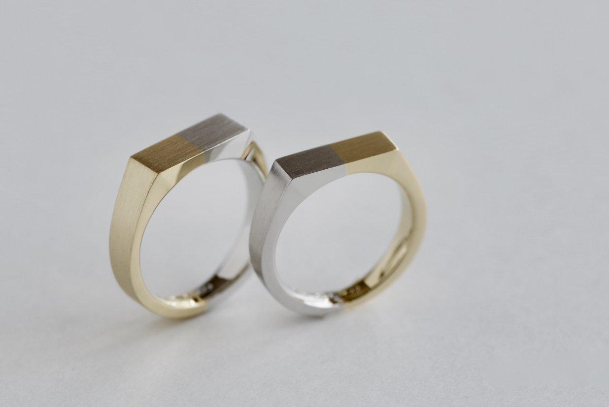 2色で作ったシグネットタイプの結婚指輪