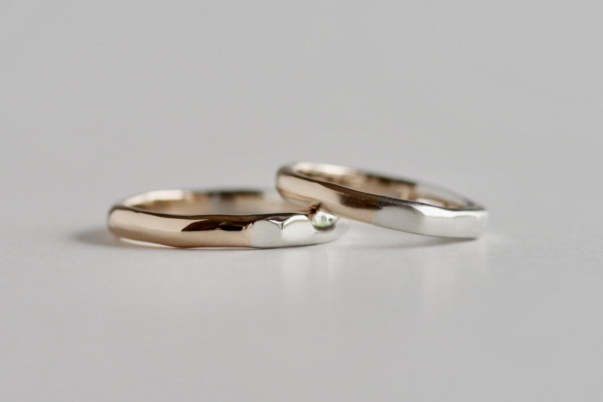 プラチナとピンクゴールドの結婚指輪